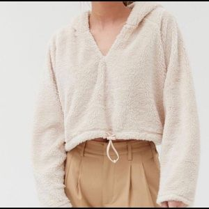 Urban outfitters cream hoodie Sherpa cropped